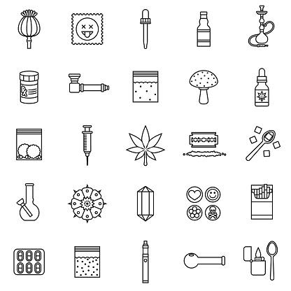 Drugs Thin Line Icon Set