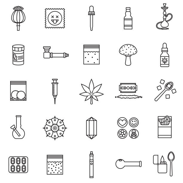 stockillustraties, clipart, cartoons en iconen met drugs dunne lijn icon set - amfetamine
