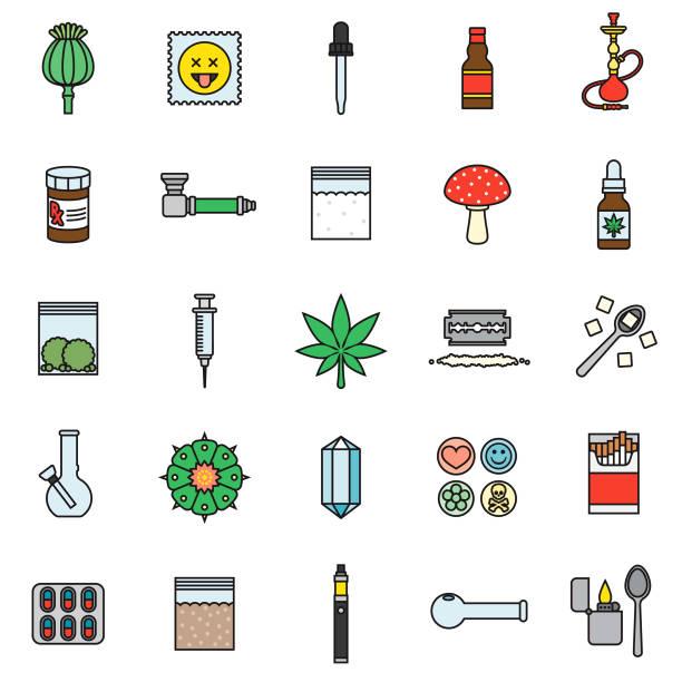 drugs thin line icon set - methamphetamin stock-grafiken, -clipart, -cartoons und -symbole