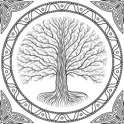Druidic Yggdrasil tree at night, round silhouette, celtic style logo. Gothic ancient book style border and frame