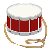 Drum, a realistic drum with a belt. Musical instrument. Flat design, vector illustration, vector.