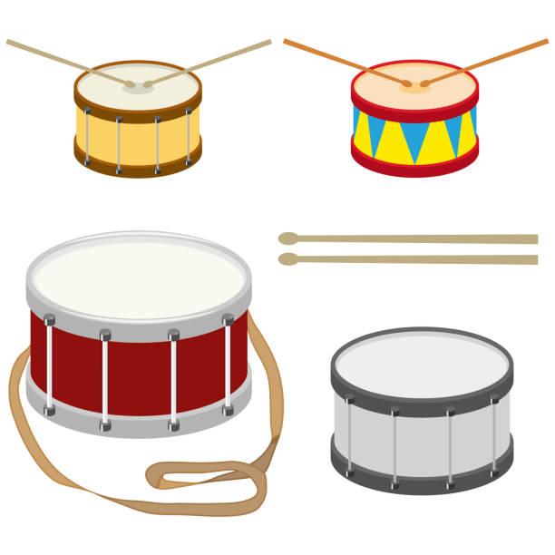 stockillustraties, clipart, cartoons en iconen met drum, een aantal realistische drums met drum stokken. - drum