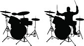 Drum pieces and drummer Silhouette. Included high resolution jpeg 6300x3600).
