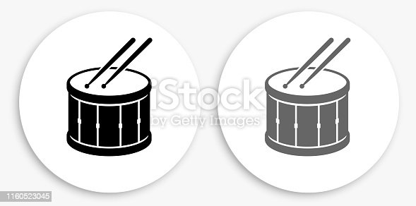 Drum and Drumsticks Black and White Round Icon. This 100% royalty free vector illustration is featuring a round button with a drop shadow and the main icon is depicted in black and in grey for a roll-over effect.