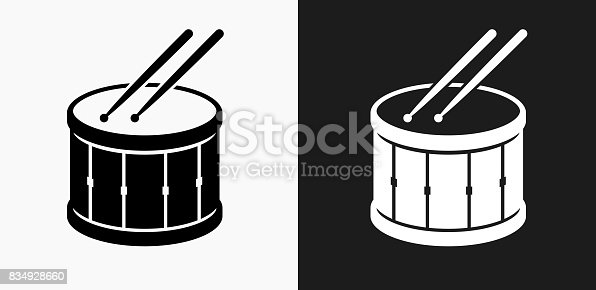 istock Drum and Drumsticks Icon on Black and White Vector Backgrounds 834928660