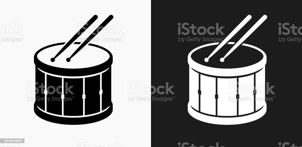 Tambour et pilons icône sur fond de Vector noir et blanc - Illustration vectorielle