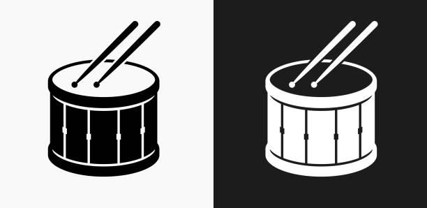 stockillustraties, clipart, cartoons en iconen met drum en drumsticks pictogram op zwart-wit vector achtergronden - drum