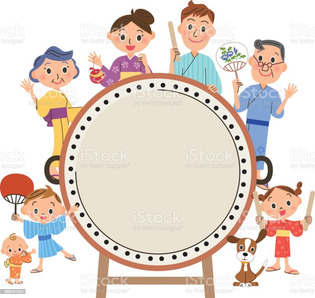 drum and three-generation family vector art illustration