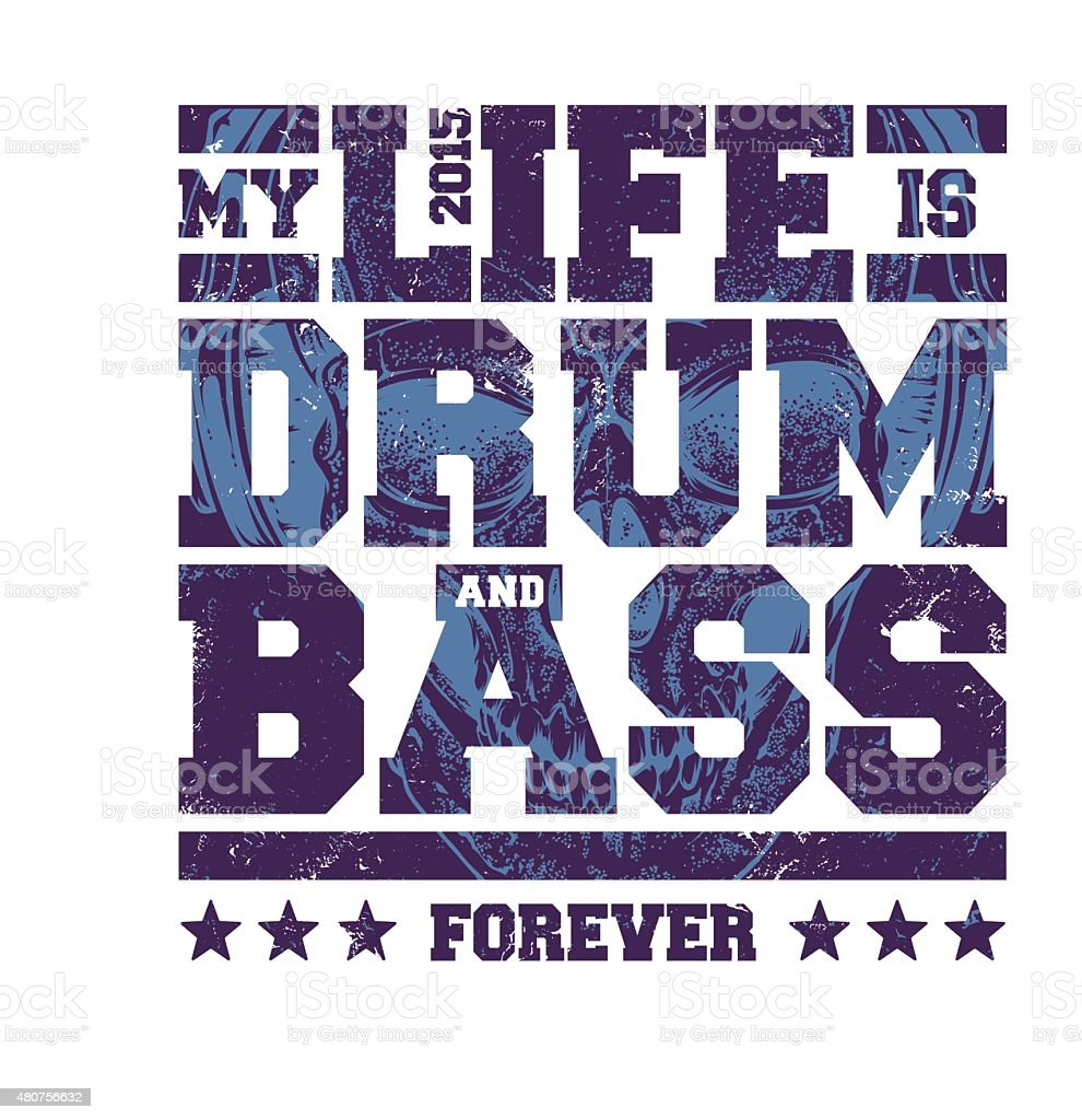 Drum & Bass Typography vector art illustration