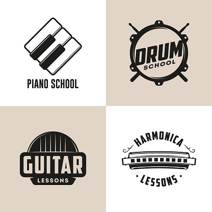 Drum, Harmonica, Guitar and Piano school isolated logos. Music lessons.