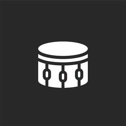 drum icon. Filled drum icon for website design and mobile, app development. drum icon from filled music instruments collection isolated on black background.