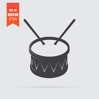 Drum icon in flat style isolated on grey background.