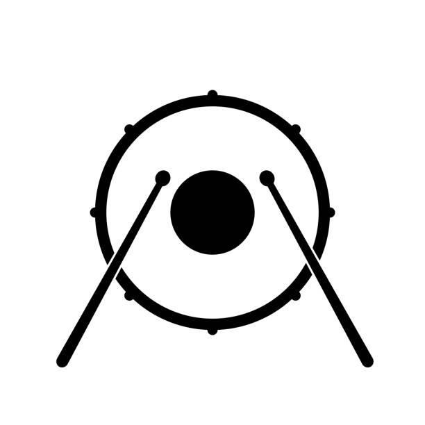 stockillustraties, clipart, cartoons en iconen met trommel pictogram op witte achtergrond - drum