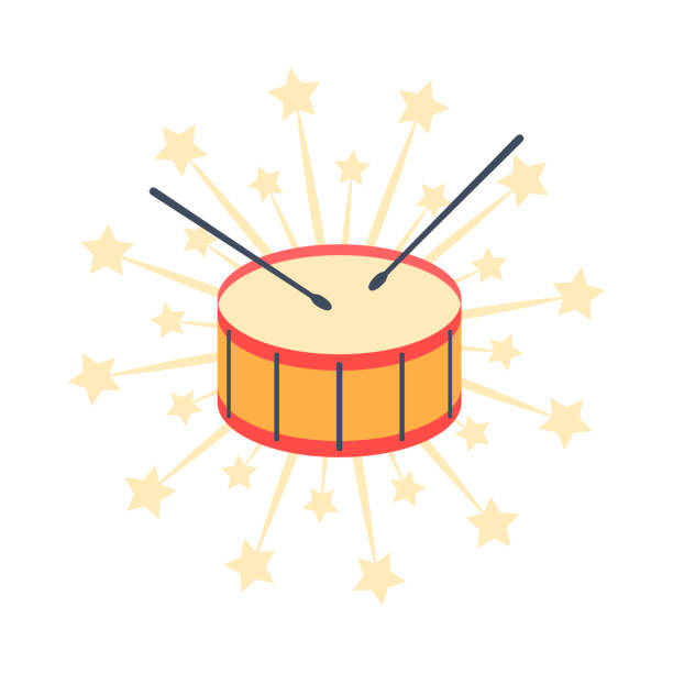 stockillustraties, clipart, cartoons en iconen met trommel. pictogram, vectorillustratie. - drum