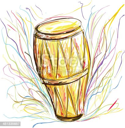 istock Drum in color sketch style 451335657