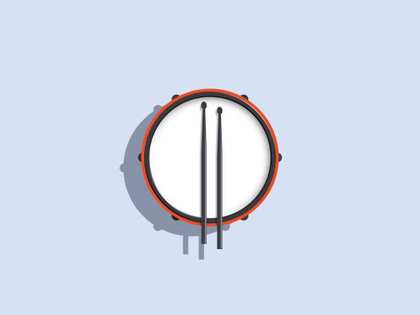 stockillustraties, clipart, cartoons en iconen met trommel isolaat - slaginstrument