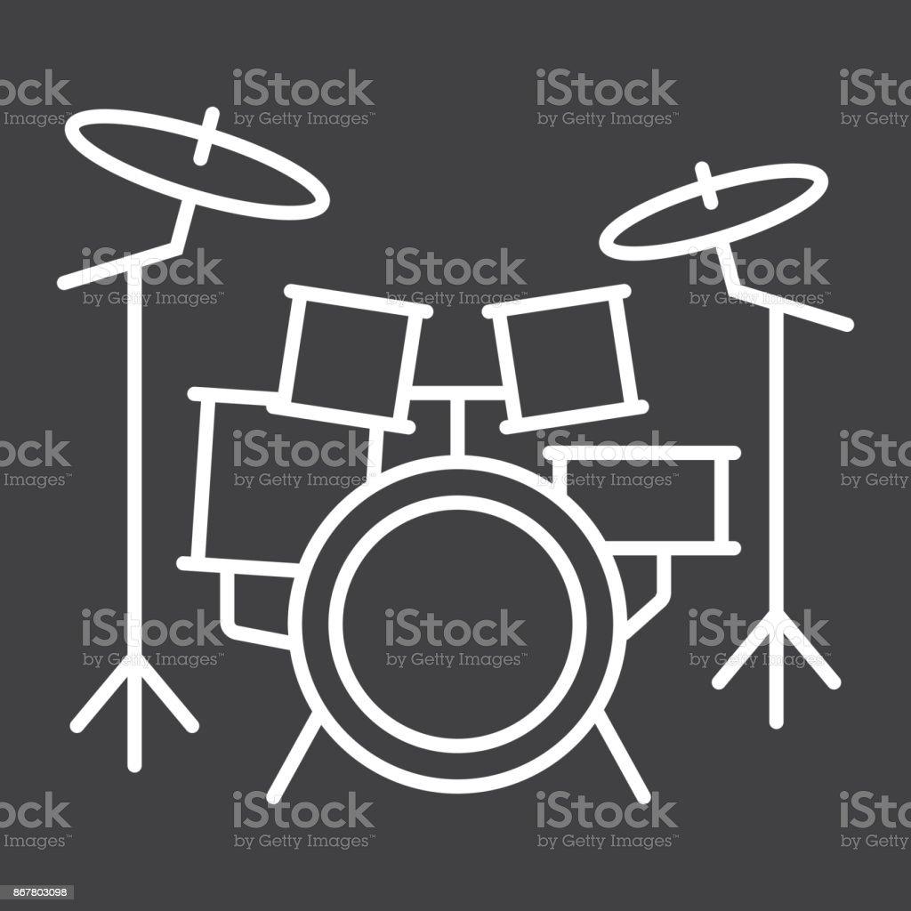 Drum Kit Liniensymbol Musik Und Instrument Zeichenvektorgrafiken Ein ...