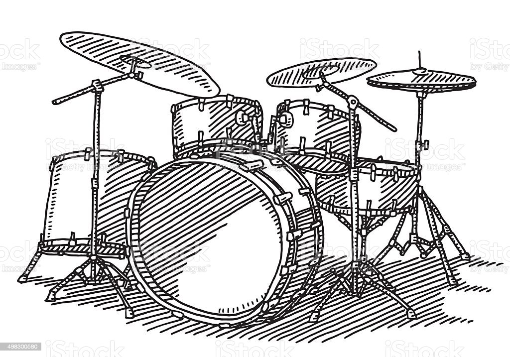 Drum Kit Music Instrument Drawing Stock Vector Art & More Images of ...