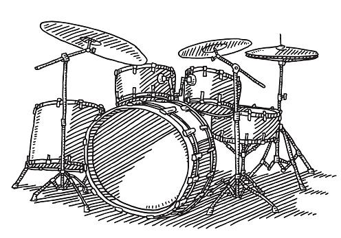 Drum Kit Music Instrument Drawing