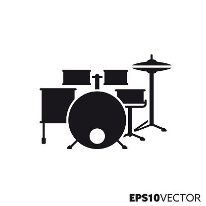 Drum kit vector glyph icon