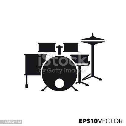 Drum kit line icon. Glyph symbol of percussion instruments and rock music. Musical instruments flat vector illustration.