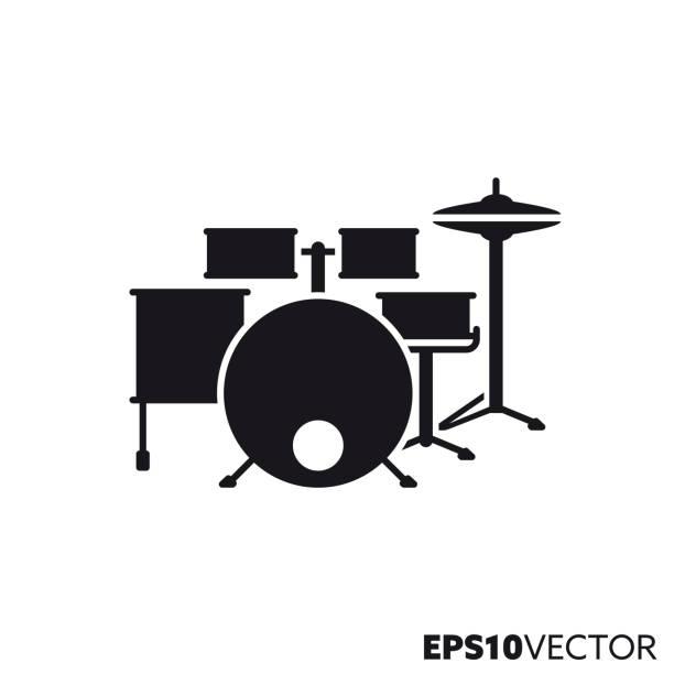 stockillustraties, clipart, cartoons en iconen met drum kit vector glyph icoon - drum