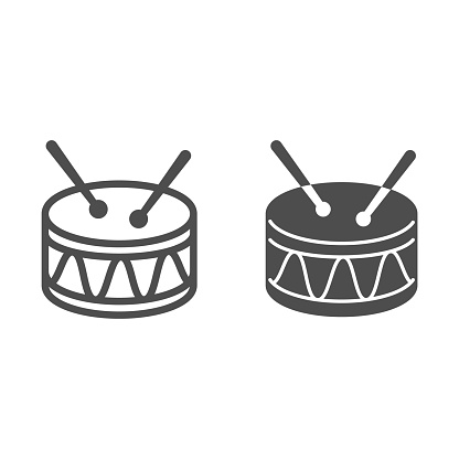 Drum line and solid icon, Kids toys concept, Drum toy sign on white background, Snare Drum icon in outline style for mobile concept and web design. Vector graphics.