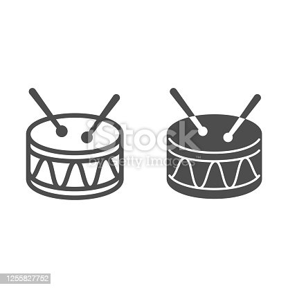 istock Drum line and solid icon, Kids toys concept, Drum toy sign on white background, Snare Drum icon in outline style for mobile concept and web design. Vector graphics. 1255827752