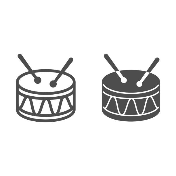 Drum line and solid icon, Kids toys concept, Drum toy sign on white background, Snare Drum icon in outline style for mobile concept and web design. Vector graphics. Drum line and solid icon, Kids toys concept, Drum toy sign on white background, Snare Drum icon in outline style for mobile concept and web design. Vector graphics music and entertainment icons stock illustrations