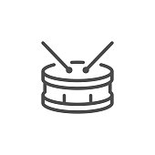 Drum line icon isolated on white. Vector illustration