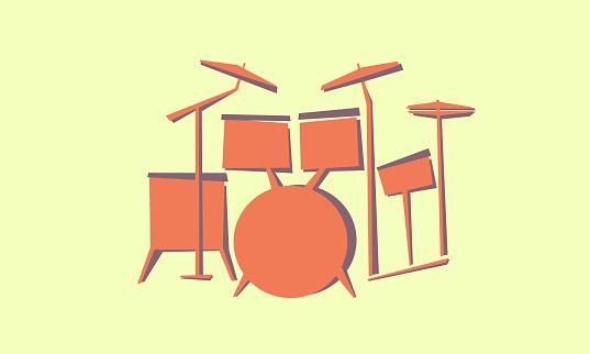 Drum set. Drum kit. Music percussion instruments for drummer.