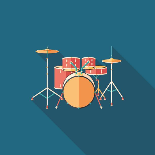 stockillustraties, clipart, cartoons en iconen met drum stel platte vierkante icoon met lange schaduwen. - drum