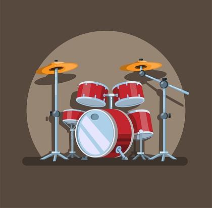 Drum set in spotlight, music instrument symbol concept in cartoon illustration vector