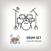 Drum set isolated vector illustration. Modern art thin line of the drum kit icon, music instrument logo flat design