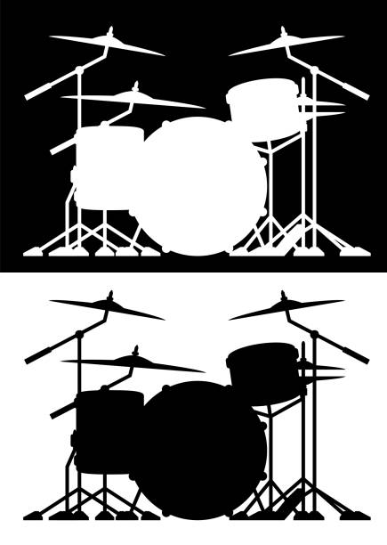 drum set silhouette isolated vector illustration in both black and white - talerz perkusyjny stock illustrations