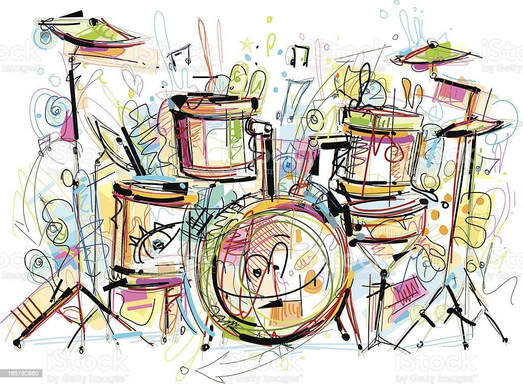 Drum Set Sketch Stock Vector Art More Images Of Art 165792880 Istock