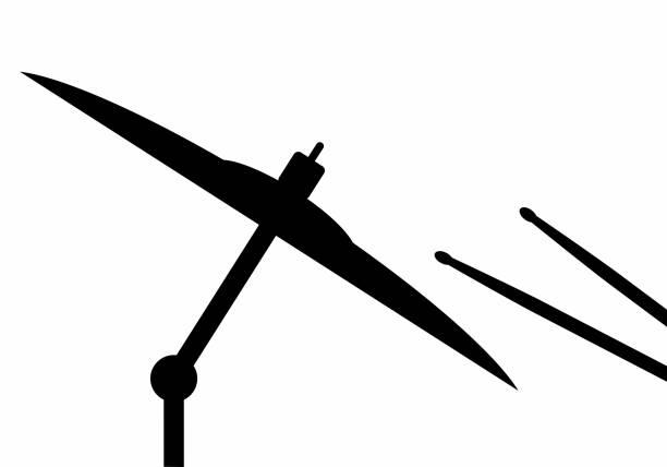 stockillustraties, clipart, cartoons en iconen met drum stokken en bekken donkere silhouet - cimbaal
