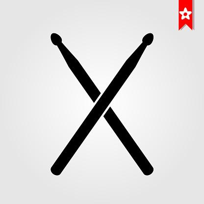 drum sticks icon in black style isolated on white background.drum sticks symbol vector illustration,drum sticks monochrome flat pictogram