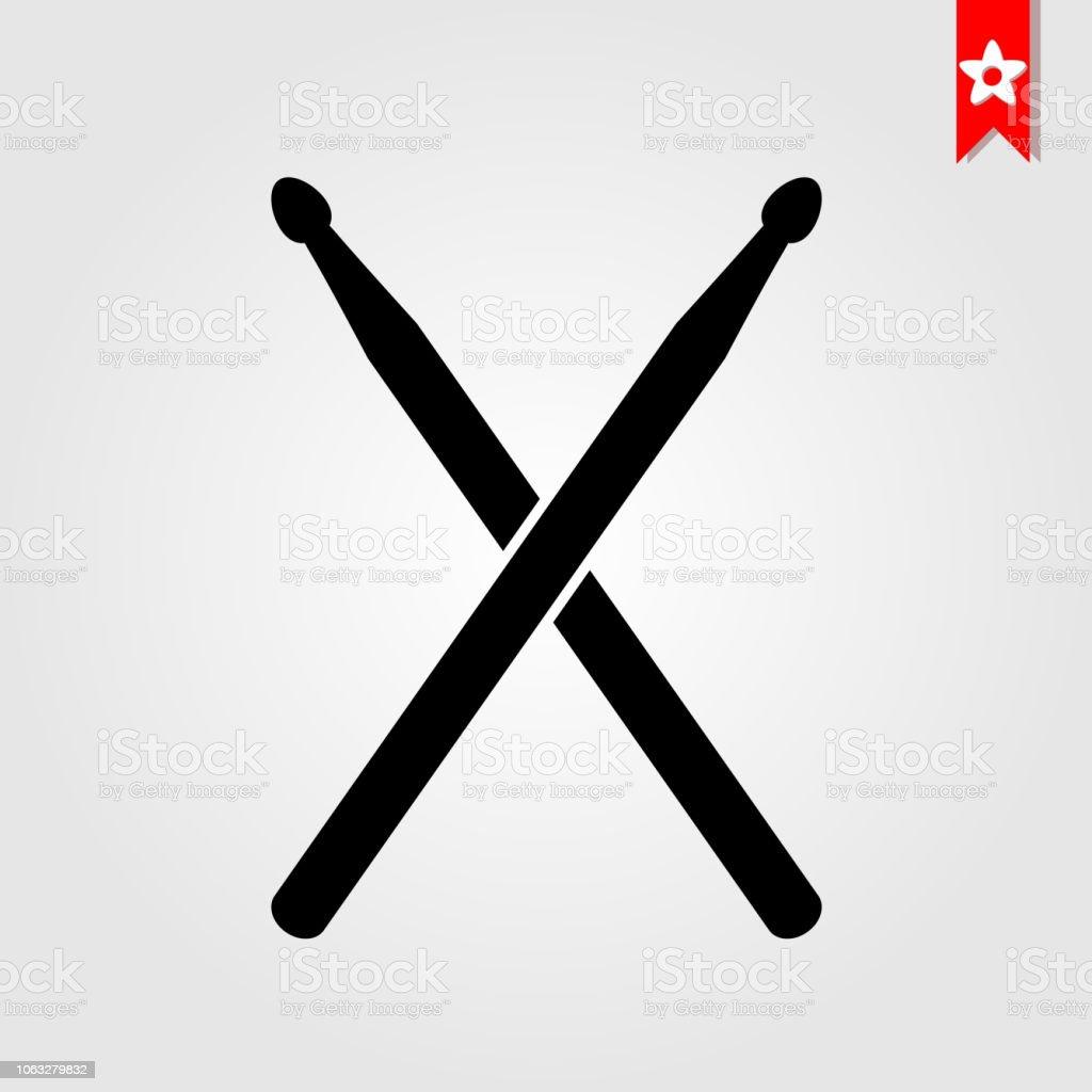 tambour reste icône en noir style isolé sur blanc background.drum bâtons symbole vecteur illustration, drum sticks pictogramme plat monochrome - Illustration vectorielle