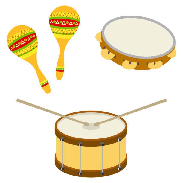 stockillustraties, clipart, cartoons en iconen met drum, tamboerijn, maracas. muzikale percussie-instrumenten - tamboerijn