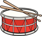 Drum and drum sticks are in separate grouped objects, so they can be quickly repositioned or adjusted for your project.