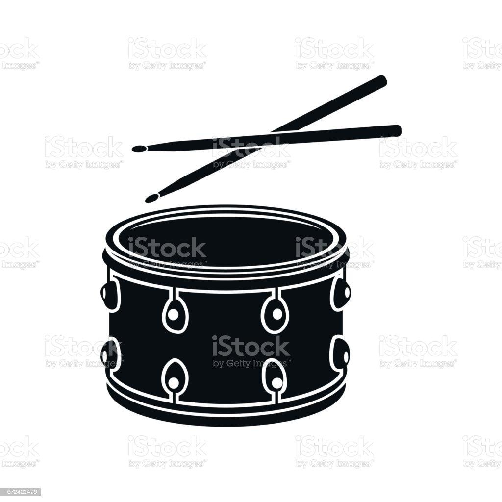 Le tambour à bâtons ic⌠nes, noir style simple - Illustration vectorielle