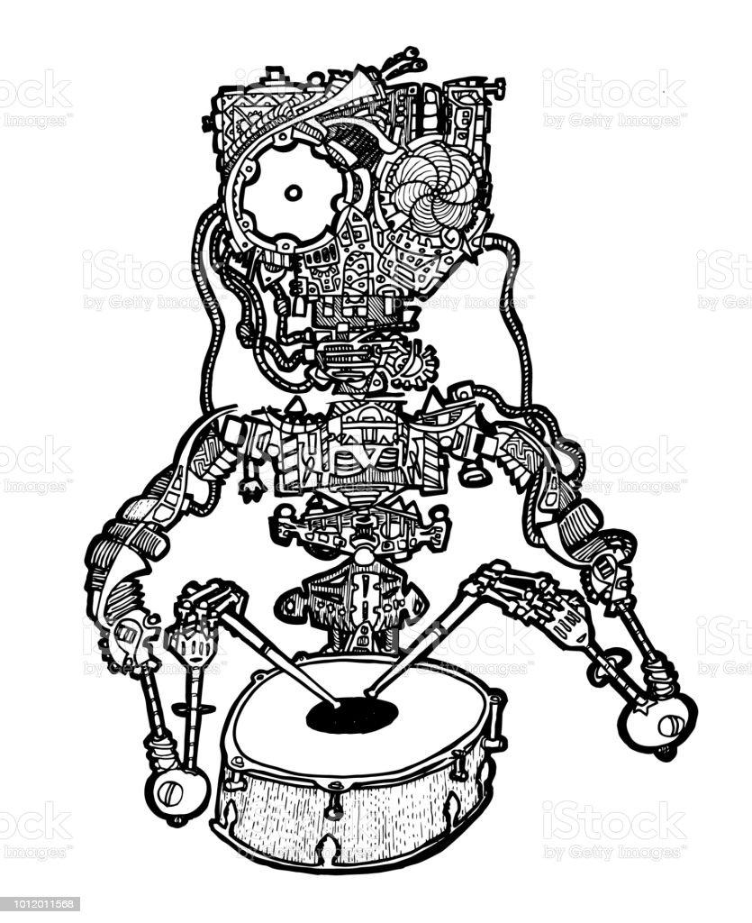 Davulcu Robot Boyama Sayfasi Stok Vektor Sanati Arka Planlar Nin
