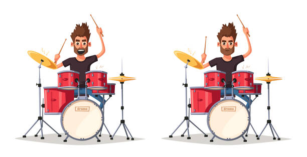 Drummer. Rock music. Cartoon vector illustration. Drummer. Old school party. Cartoon vector illustration. Vintage style. For print and web. Drums. For concert promotion in clubs, bars, pubs and public places. rolling stock illustrations