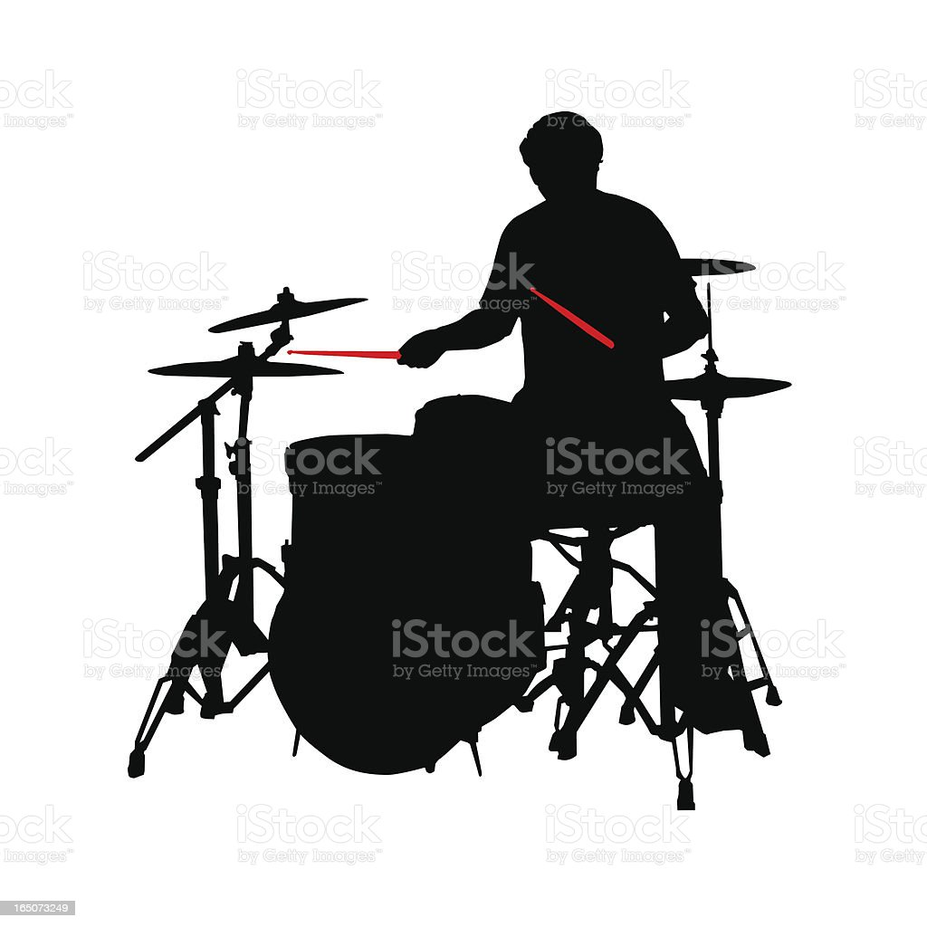 Drummer Sihouette with Red Sticks (vector illustration) royalty-free stock vector art