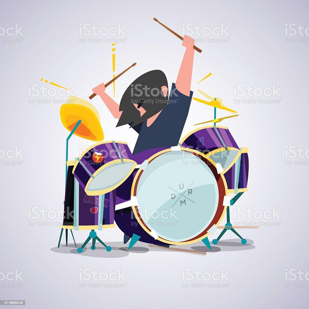 Drummer With His Drum Set Character Design Vector Stock Vector Art