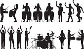 Various drummers and other percussionist silhouettes to a high level of detail. Each drum is separate.