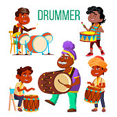 Drummers Using Ethnic Percussion Vector Characters Set