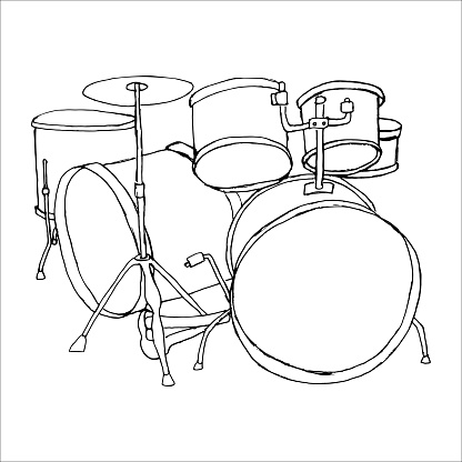 Drums doodle hand drawn sketch on white background
