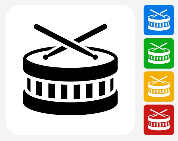 stockillustraties, clipart, cartoons en iconen met drums icon flat graphic design - drum